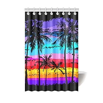 Amazon.com: Shower Curtain Multicolored Palm Trees Beach Sunset ...