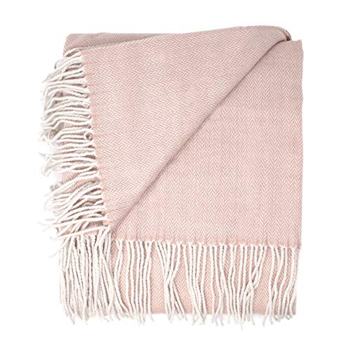 Good Manors Herringbone Chevron Throw Blanket, Lightweight, Woven, Fade Resistant, Cozy, Casual Warm, Soft, Indoor-Outdoor Use, Everyday Use - 50 x 60 - Light Pink