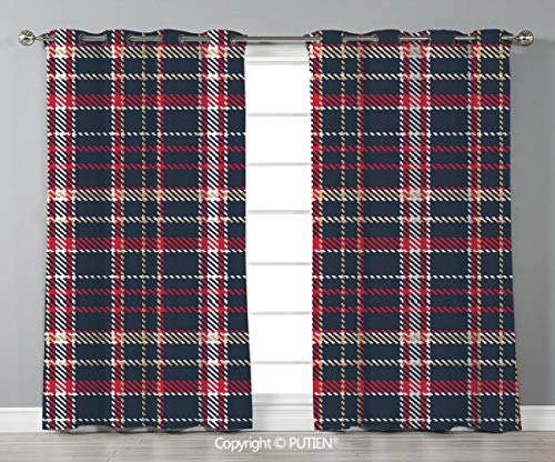 Grommet Blackout Window Curtains Drapes [ Red Plaid,Classic Quilt Checkerboard Pattern with Pixel Art Inspirations Traditional Image Decorative,Multicolor ] for Living Room Bedroom Dorm Room Classroom]()