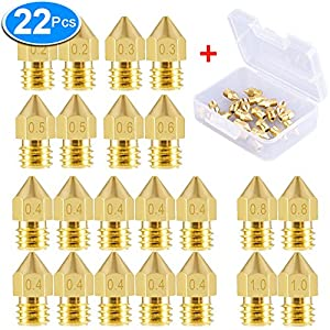 SIQUK 22 Pieces 3D Printer Nozzles MK8 Nozzle 0.2mm, 0.3mm, 0.4mm, 0.5mm, 0.6mm, 0.8mm, 1.0mm Extruder Print Head with Free Storage Box for 3D Printer Makerbot Creality CR-10 from SIQUK