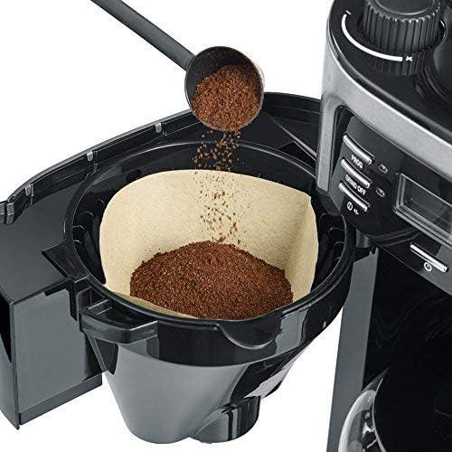 SEVERIN Cafetière avec Broyeur, Pour Café en Grains et Café Filtre, Fonction Programmable, Arrêt automatique, 10 Tasses, KA 4810, Inox/Noir