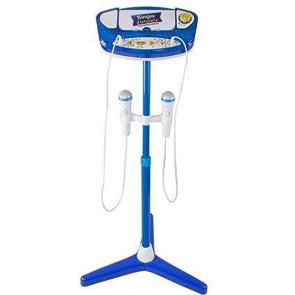 MAJOZ Kinder Karaoke Mikrofon,Karaoke Player,USB-Ladevorgang,Verstellbarer Ständer mit 2 Mikrofon für Kinder und Mädchen (Bla