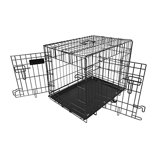Moclever Dog kennels and crates, Double Door Folding Metal Dog Crate, Removable and Washable Leak-Proof Dog Tray, 36L x 22.7W x 24.5H Inches, Intermediate Dog Breed