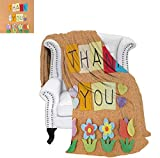 Oversized Travel Throw Cover Blanket Gratitude Themed Quote on The Little Hanging Papers Post It with Flowers Print Super Soft Lightweight Blanket 60'x36' Multicolor