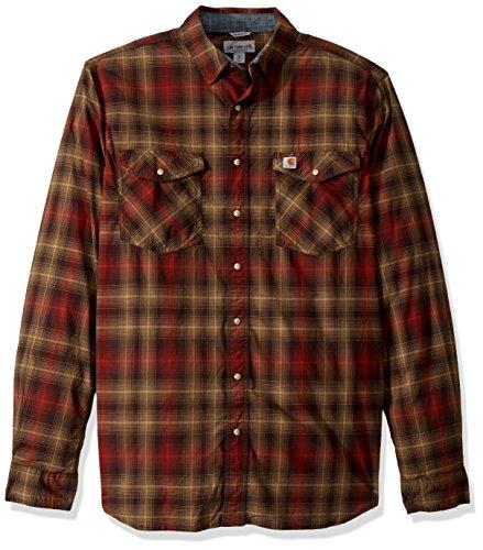 Carhartt Men's Big & Tall Rugged Flex Bozeman Long Sleeve Shirt, Dark Brown, 3X-Large