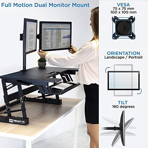 Mount-It! Standing Desk Converter with Bonus Dual Monitor Mount Included - Height Adjustable Stand Up Desk - Wide 36 Inch Sit Stand Workstation with Gas Spring Lift- Black (MI-7934) by Mount-It! (Image #6)