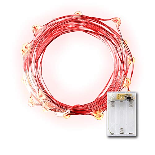 LIDORE Micro LED 20 Red Lights with Timer, Battery Operated on 7.87ft Long Silver Color Ultra Thin String Wire ()