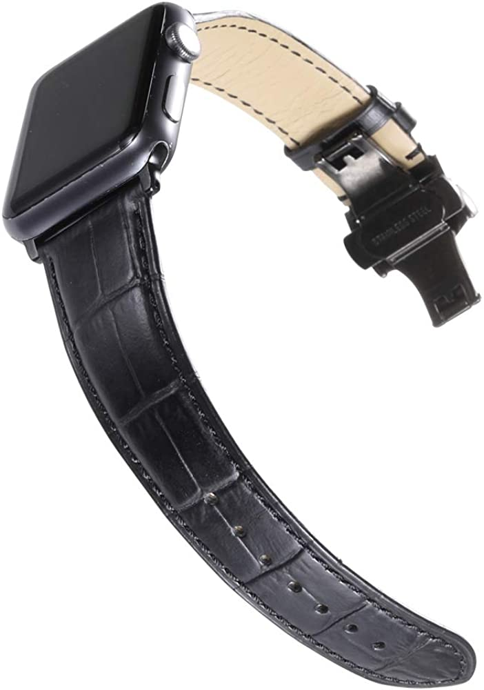 CHIMAERA Compatible for 38MM 40MM 42MM 44MM Apple Watch Band Genuine Calf Leather Strap Replacement for iWatch Series 5/4/3/2/1 Black/Gold/Rose Gold Adapters