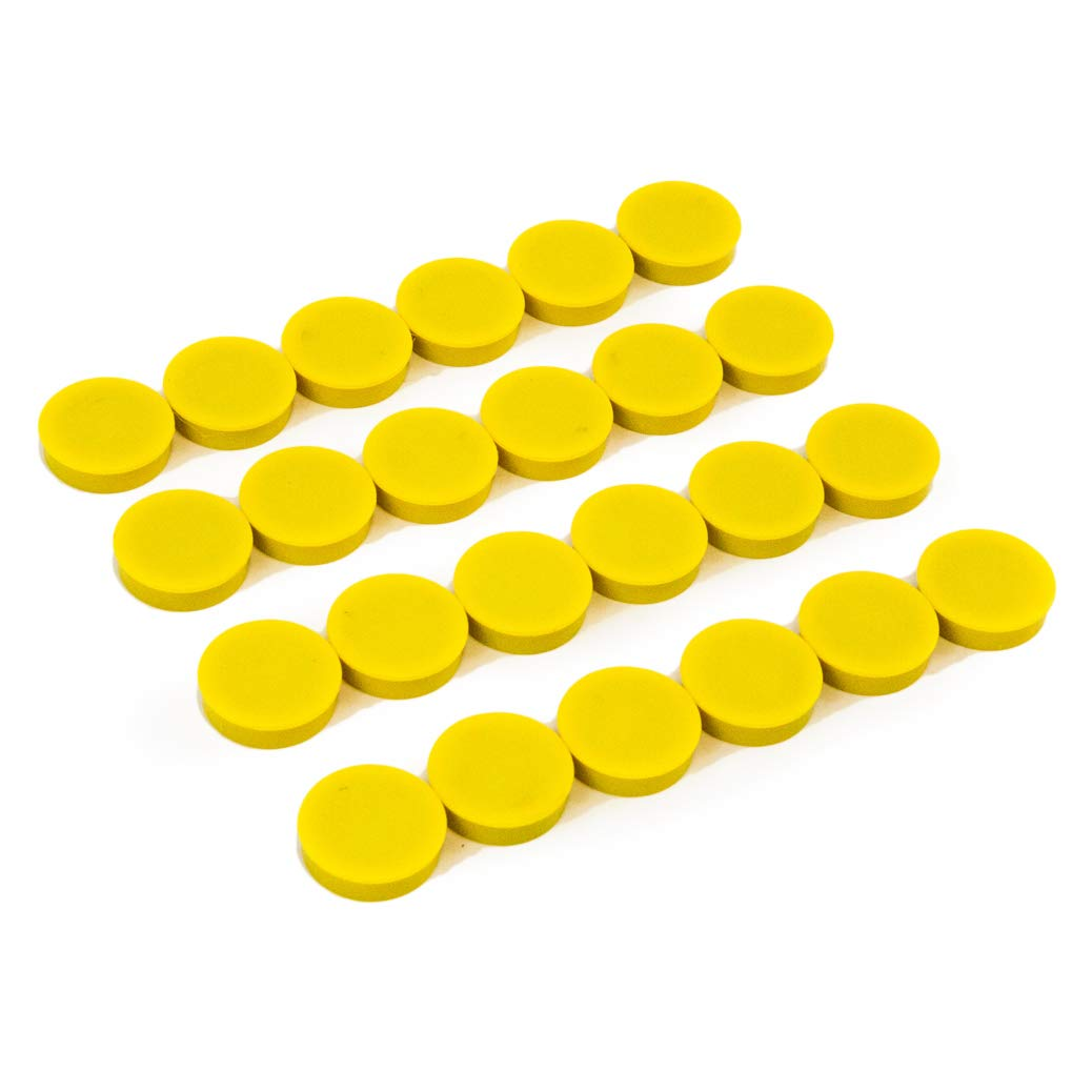 Bullseye Office Magnets (24 Pack) - Yellow Round, Refrigerator Magnets - Perfect as Whiteboards, Lockers, or Fridge Magnets [Yellow]