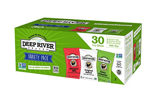 Deep River Salt - Deep River Snacks Kettle Cooked Potato Chip Variety Pack, Non GMO, 1 Ounce (Pack of 30)