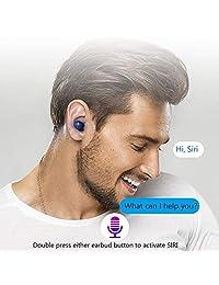 Auriculares inalámbricos Bluetooth 5.0 con micrófono integrado resistente al agua y 500 fundas de carga.