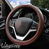 Valleycomfy Steering Wheel Covers Universal 15 inch - Genuine Leather, Breathable, Anti Slip & Odor Free (Coffee)