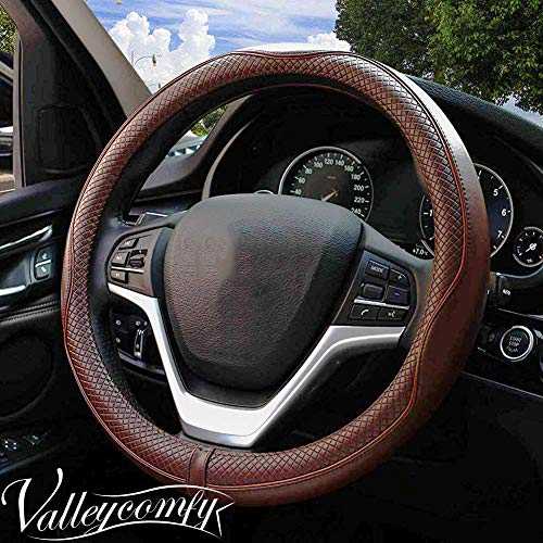 Valleycomfy Steering Wheel Covers Universal 15 inch - Genuine Leather, Breathable, Anti Slip & Odor Free (Coffee) ()