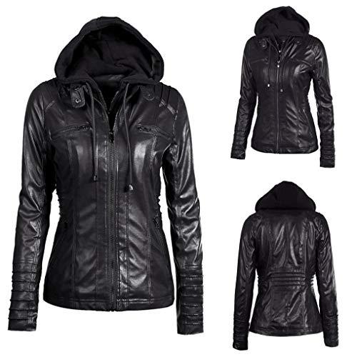 Rambling Womens Hooded Leather Jacket, Slim Overcoat Coat Lapel Removable Zipper Outwear Tops by Rambling (Image #5)