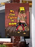 My Fire Fighter Is Hot Large Flag