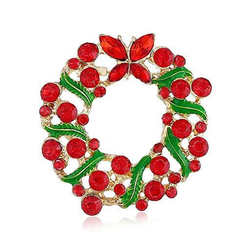 - Christmas Deer Bell Santa Hat Snow Enamel Brooch Pin Xmas Party Jewelry Brooches | Main Colour - Garland