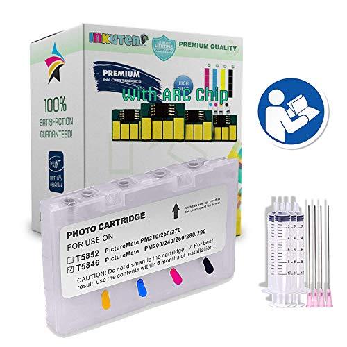INKUTEN Empty Refillable Cartridge for T5846 PictureMate Dash PM 260, Pal PM 200, Snap PM 240, Charm PM 225, Flash PM 280, Show PM 300 and Zoom PM 290 with auto-Reset chip and Syringe