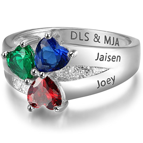 Personalized 3 Simulated Birthstone Mother Children Rings Engraved 3 Names Promise Family Jewelry (5)