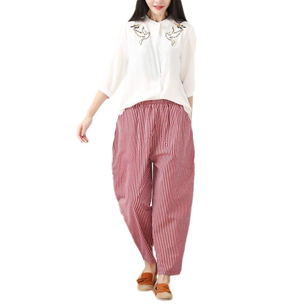 Molyveva Women Fashion Cotton Linen Loose Stripe Haren Broad Leg Casual Pants