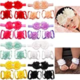 8 Sets Baby Foot Flower and Hair Accessory,Barefoot Sandals Flower Headbands Set for Baby Girls Indoors Wearing (Color: 8pairs Flower Headband and Barefoot Sandals Set, Tamaño: Small)