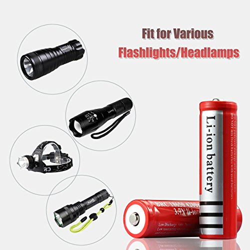 Deruicent 4 Pack 3.7V 18650 Rechargeable Li-ion Battery with Charger for High-Power LED Flashlights, Headlamps by Deruicent (Image #5)