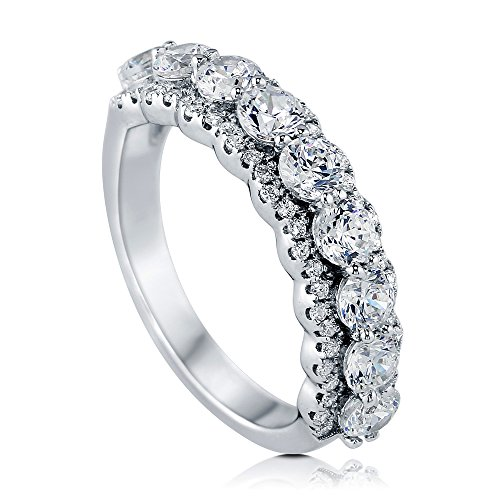 BERRICLE Rhodium Plated Sterling Silver Cubic Zirconia CZ Anniversary Half Eternity Band Ring Size 7 (Rhodium Plated Sterling Silver Band)
