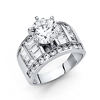 14K Solid White Gold 2.75 cttw Polished Cubic Zirconia Round Cut Wedding Engagement Ring with Side Stones