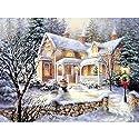 家と雪だるま DIYクロスステッチキットダイヤモンド絵画、ラインストーンの刺繍の写真壁の装飾ギフト、 DIY手作り絵画 装飾画 アートクラフト 30×40cm