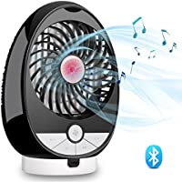USB Personal Music Fan Bluetooth Speaker Air Fan - OLIISS 3 Speeds Rechargeable Dual Channel Stereo Speaker Support Bluetooth Connection & TF Card