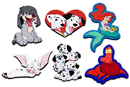 Vintage Disney Vinyl Rubber Magnets, Assorted Characters - Pack of 6. (Disney Refrigerator Magnets)