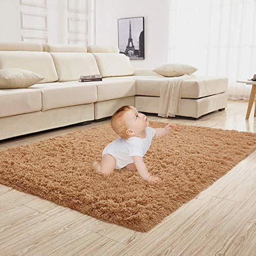 Shaggy Teppich wohnzimmer Kunstfell Fell Fellimitat Teppich Bettvorleger Sofa Matte Super weich Teppich für Wohnzimmer Schlafzimmer Kinderzimmer Auto Esszimmer Fluffy Kindermatte (80 x 150 cm, Braun)