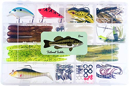 - Tailored Tackle Bass Fishing Kit 77 Pc Bass Gear Tackle Box with Tackle Included Crankbait Lures Spinner Baits Jigs Worms Swimbaits Topwater Frog Lure Fish Hooks Bait Weights Fishing Gifts Equipment