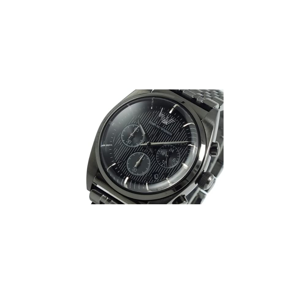 Emporio Armani AR0374 Mens Classic Grey IP Stainless Steel Bracelet Textured Dial Chronograph Watch