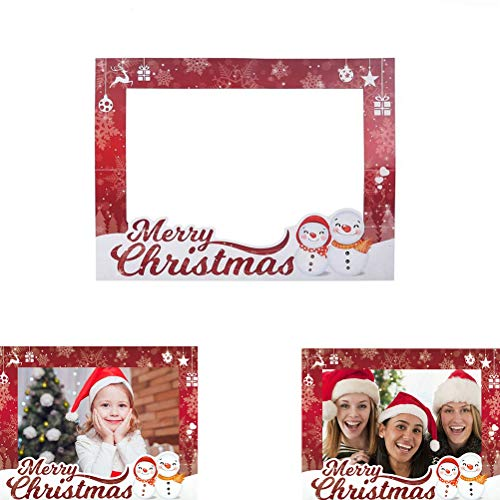 Cha Long 1 Set Christmas Photo Frame Props Hand-held Photo Props Merry Christmas Photo Selfie Frame Photo Booth Props Christmas Decoration Christmas Party Facors ()