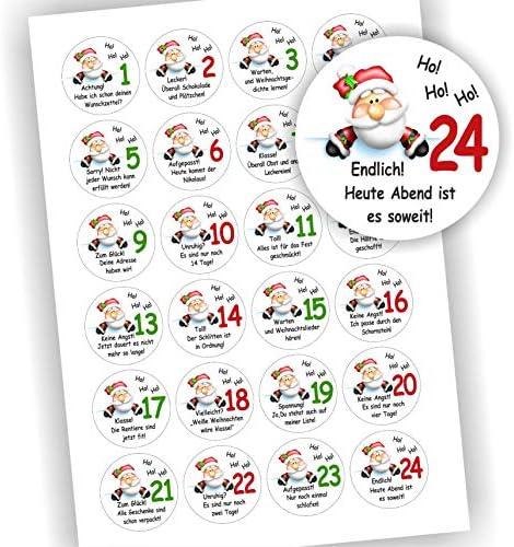 Play-Too 24 Aufkleber Adventskalender Zahlen Fest Weihnachten Weihnachtsmann mit Sprüchen für jeden Tag 40mm Aufkleber Sticker