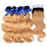Ombre Human Weft Hair Weave Body Wave 1B 27 7A Brazilian 4 Bundles With Lace Top Closure Blonde Hair Extensions from Dream Beauty for women (14 16 18 20+12Inch)