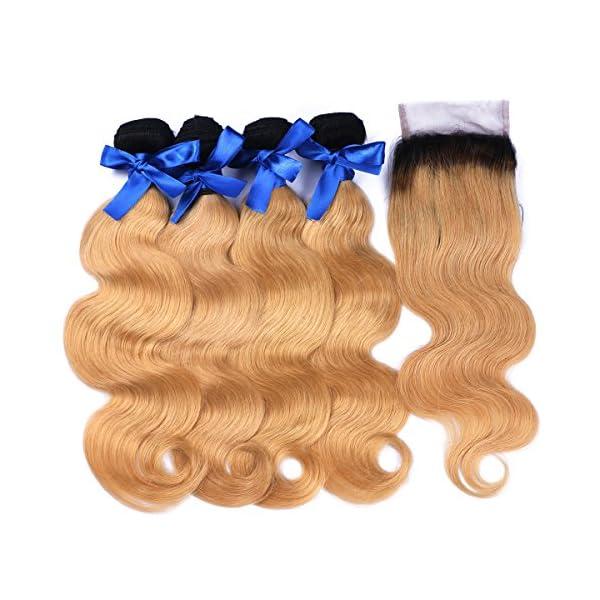 Ombre Human Weft Hair Weave Body Wave 1b 27 7a Brazilian 4 Bundles