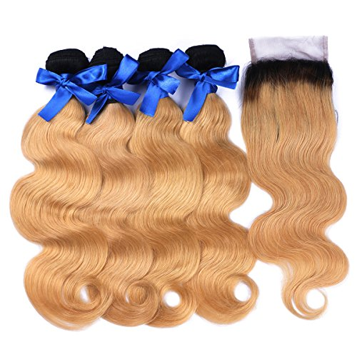 Ombre Human Weft Hair Weave Body Wave 1B 27 7A Brazilian 4 Bundles With Lace Top Closure Blonde Hair Extensions from Dream Beauty for women (16 18 20 22+14Inch)