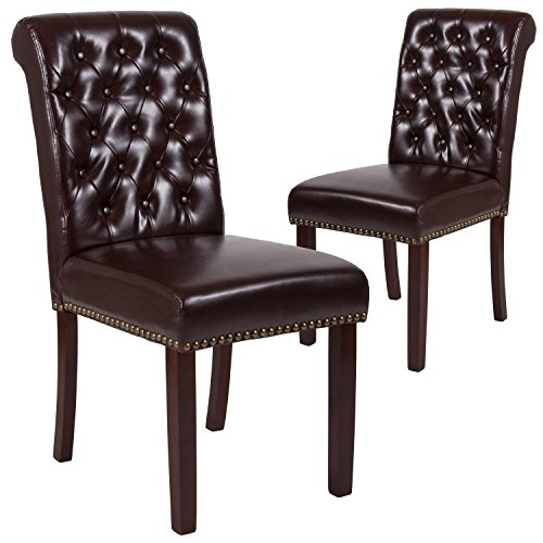 (Flash Furniture 2 Pk. HERCULES Series Brown Leather Parsons Chair with Rolled Back, Nail Head Trim and Walnut Finish)