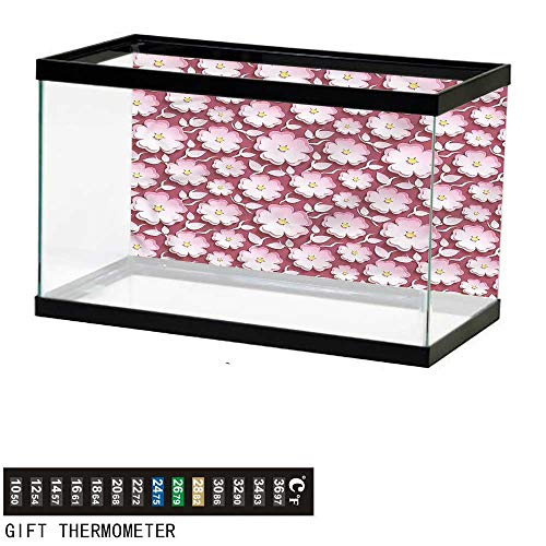 bybyhome Fish Tank Backdrop Floral,Japanese Cherry Blossom,Aquarium Background,48