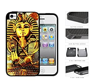 Ancient Egyptian Pharaoh King Tutankhamun 2-Piece Dual Layer High Impact Rubber Silicone Cell Phone Case Apple iPhone 4 4s