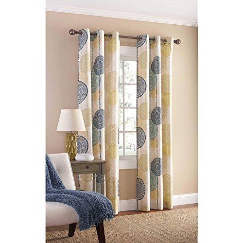 80″ x 84″ Polyester Hanging Medallion Grommet Curtain Panels Set of 2, Blue