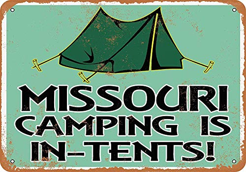 Anwei Signs 12 x 16 Tin Sign - Missouri Camping is in-Tents - Metal Sign Vintage Look Garage Man Cave Retro Wall Decor
