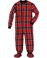 Women's Adult Flannel Footed Pajamas - Black And Red Plaid