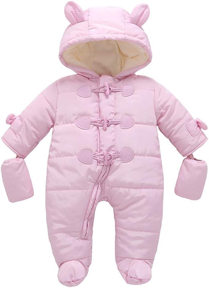 MissChild Schneeanzug Baby Jungen M/ädchen Daunenanzug Strampler mit Kapuze Quilted Pramsuit Outdoor Overall Winter Snowsuit Outfit Mantel