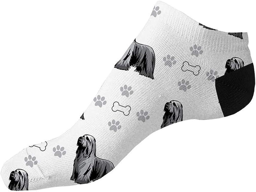 Bearded Collie Dog Bones Paws Pattern Men-Women Adult Ankle Socks