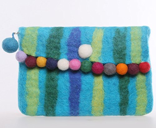 Luckid Handmade Clutch Bag Macaroon Color Felted Wool Purse (Blue)