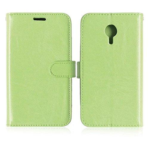 Wkae Case Cover Sintético de alta calidad caja de cuero de la carpeta del soporte del color sólido de silicona caso forMeizu MX4 ( Color : White , Size : Meizu MX4 ) Green