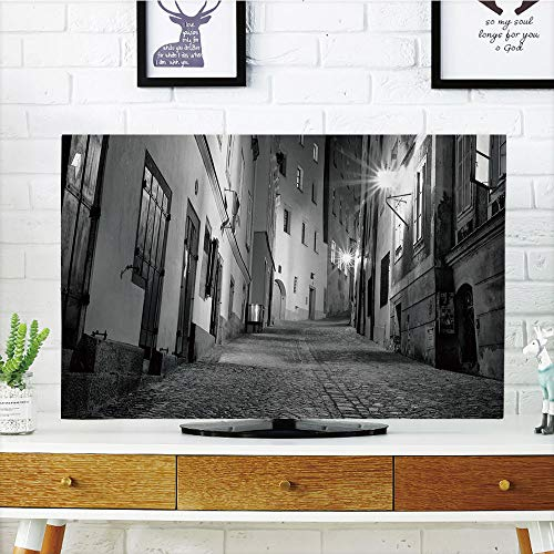 LCD TV dust cover Customizable,Black and White Decorations,D