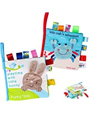 Baby Soft Book Cloth Book, Tinabless 2 Pack Nontoxic Fabric Baby Cloth Books Early Education Toys Activity Crinkle Cloth Book for Toddler, Infants and Kids